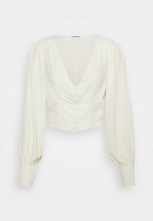 V NECK WITH BUTTON DETAIL - Topper langermet - cream