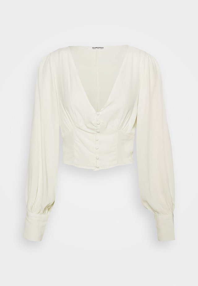 V NECK WITH BUTTON DETAIL - Long sleeved top - cream