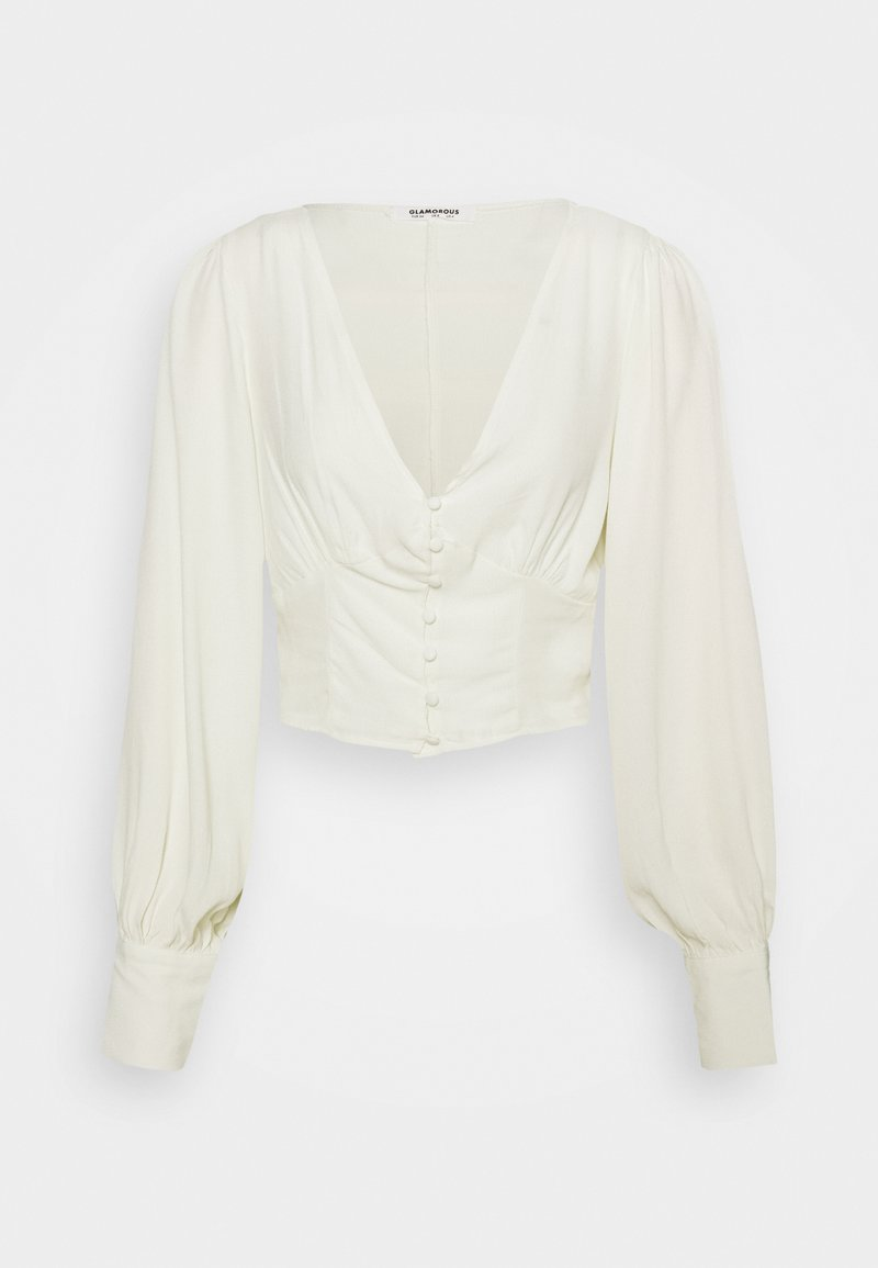 Glamorous - V NECK BLOUSE WITH BUTTON DETAIL - Blouse - cream