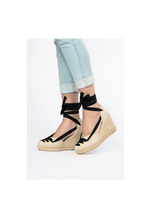COMPENSÉES ETÉ - High heeled sandals - beige, beige
