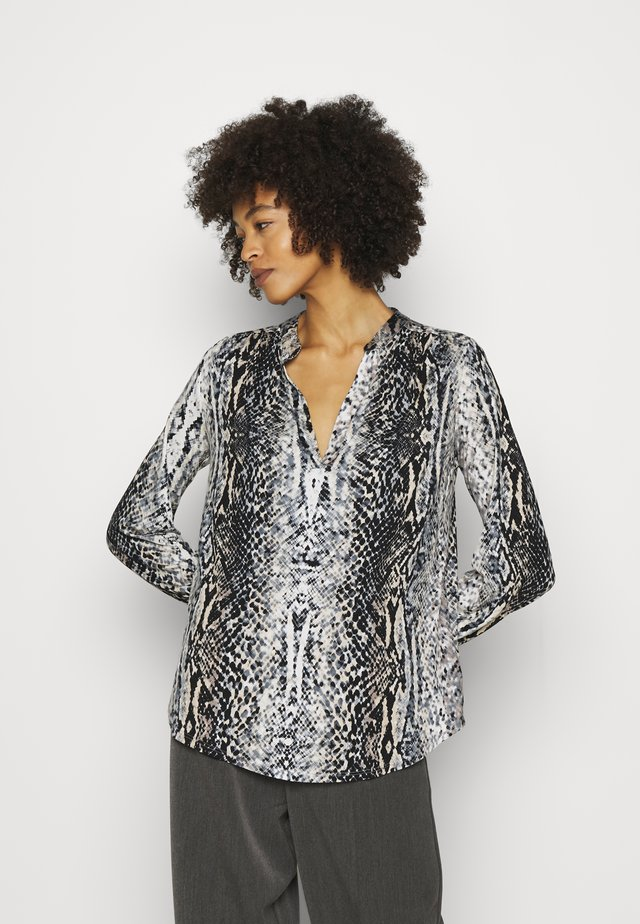 SNAKE PRINT CUFFED SLEEVE - Long sleeved top - stone