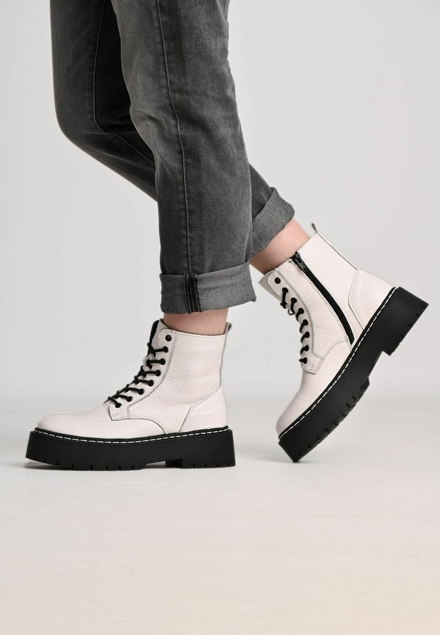 MARY - Lace-up ankle boots - white/ black