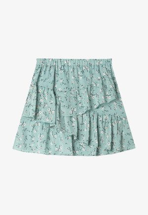 MIT VOLANTS - A-line skirt - turquoise