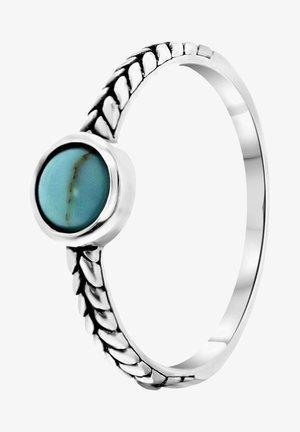ROND BEWERKT BALI - Ring - zilverkleurig/turquoise