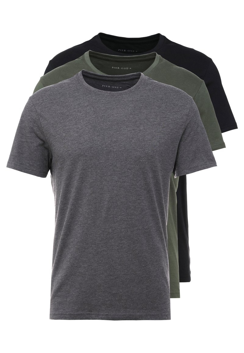 Pier One - 3 PACK - Camiseta básica - black/grey/green