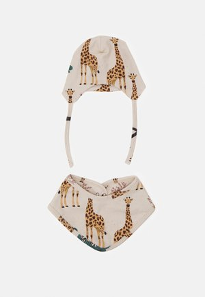 GIRAFFE BABY HAT AND BIB SET UNISEX - Halsdoek - beige