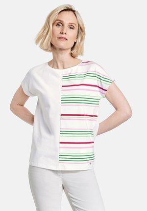 Print T-shirt - ecru/weiss/grün patch