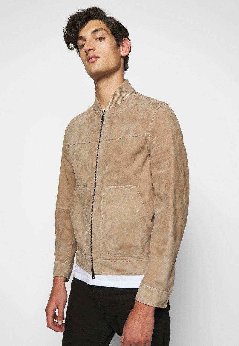 Theory - FLETCHER - Leather jacket - dark bark/asphalt