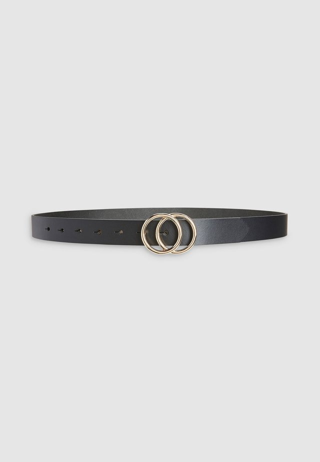 WHITE LEATHER CIRCLE BUCKLE BELT - Belt - black