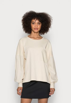LONG SLEEVE ROUND NECK PATCHED WITH WOVEN GARMEN     - Sweatshirt - summer taupe