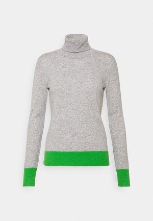 TURTLENECK COLOR BLOCK - Jumper - light grey/green