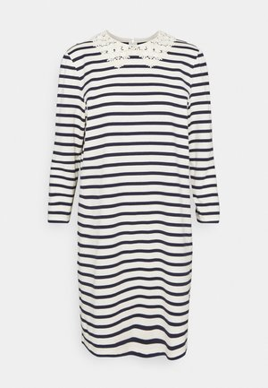 COLLAR STRIPED TEE DRESS - Day dress - cream