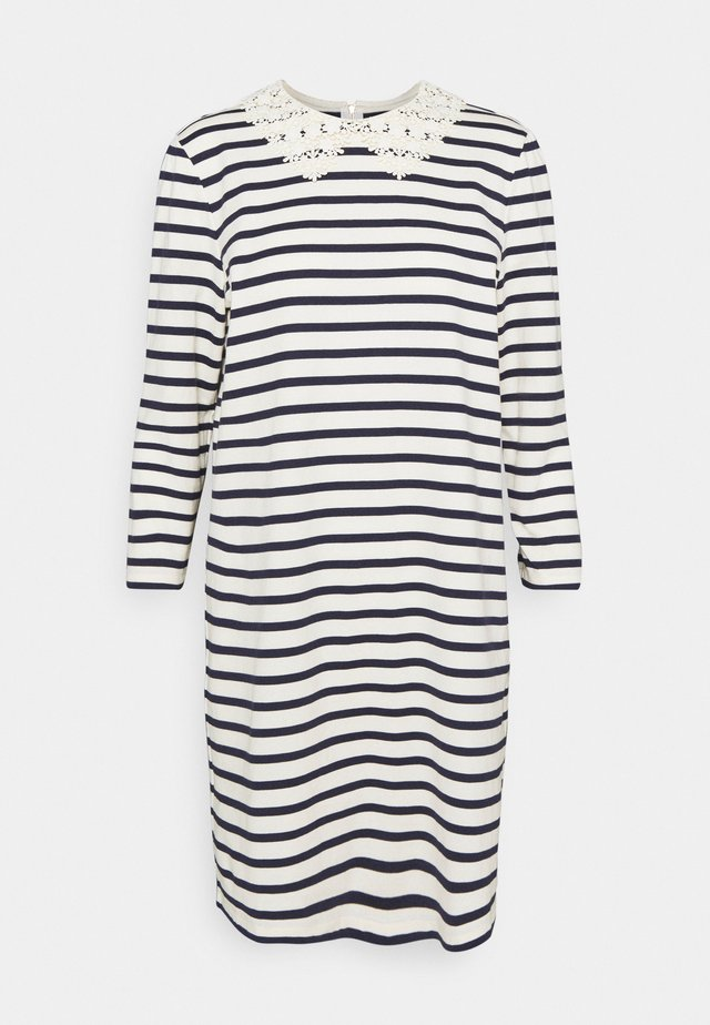 COLLAR STRIPED TEE DRESS - Denní šaty - cream