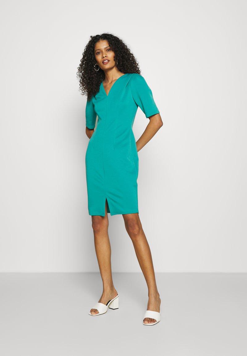 Closet - CLOSET V-NECK PLEATED SLEEVE DRESS - Jersey dress - turquoise
