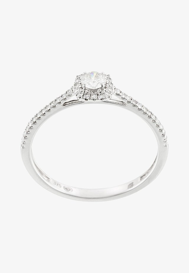 WHITE GOLD AND DIAMOND 9K CERTIFIED RING - Ring - silver