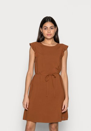 WITH RUFFLE SLEEVE - Day dress - amber brown