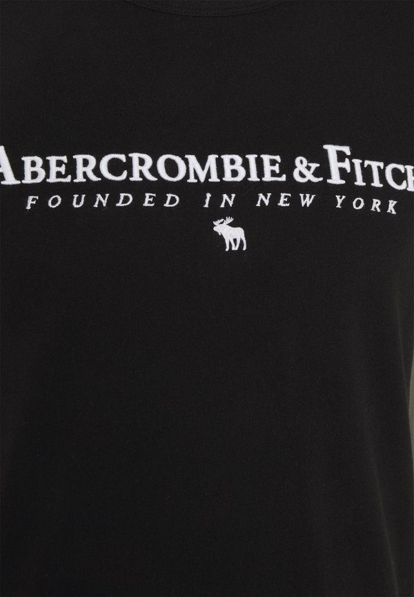 Abercrombie & Fitch CROSS CHEST TECH - T-shirt z nadrukiem - black/czarny Odzież Męska UWEK