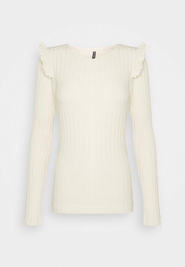 PCDEBRA RUFFLE - Long sleeved top - whitecap gray