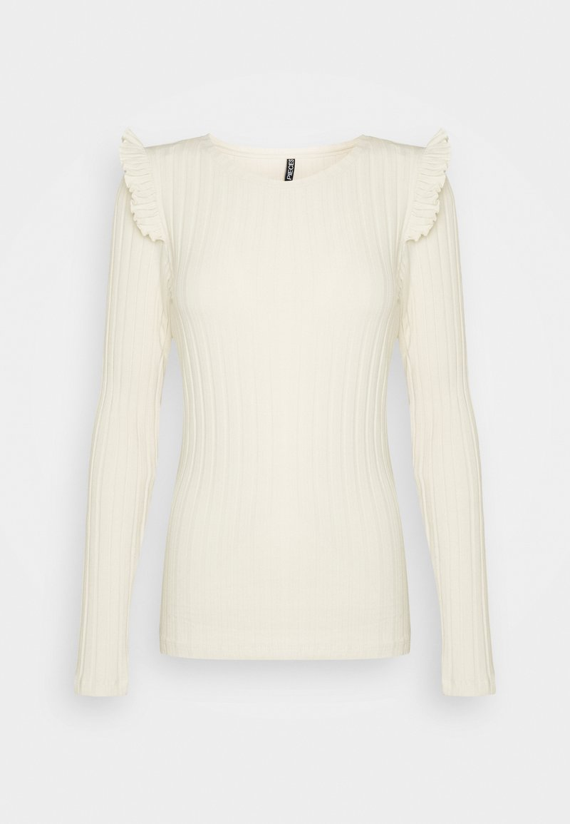 PIECES Tall - PCDEBRA RUFFLE - Long sleeved top - whitecap gray