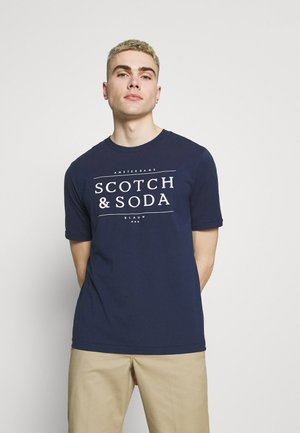 SHORT SLEEVE LOGO TEE - T-shirt print - navy