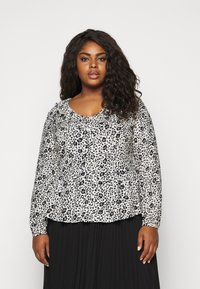 CAPSULE by Simply Be - FRILL BLOUSE - Button-down blouse - black/white - 0