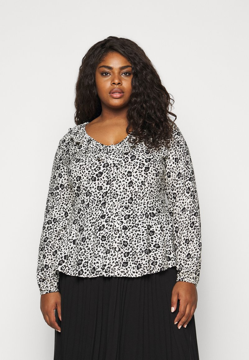 CAPSULE by Simply Be - FRILL BLOUSE - Button-down blouse - black/white