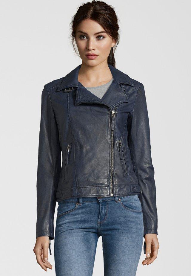 MIT LÄSSIGEM UMSCHLAGKRAGEN, - Leather jacket - navy