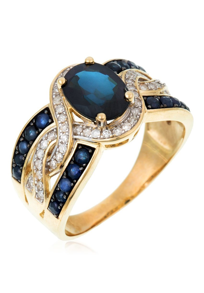Damen 9K YELLOW GOLD RING CERTIFIED 21 SAPPHIRES 2.69 CTS AND 50 DIAMONDS HP1 0.27 CT - Ring