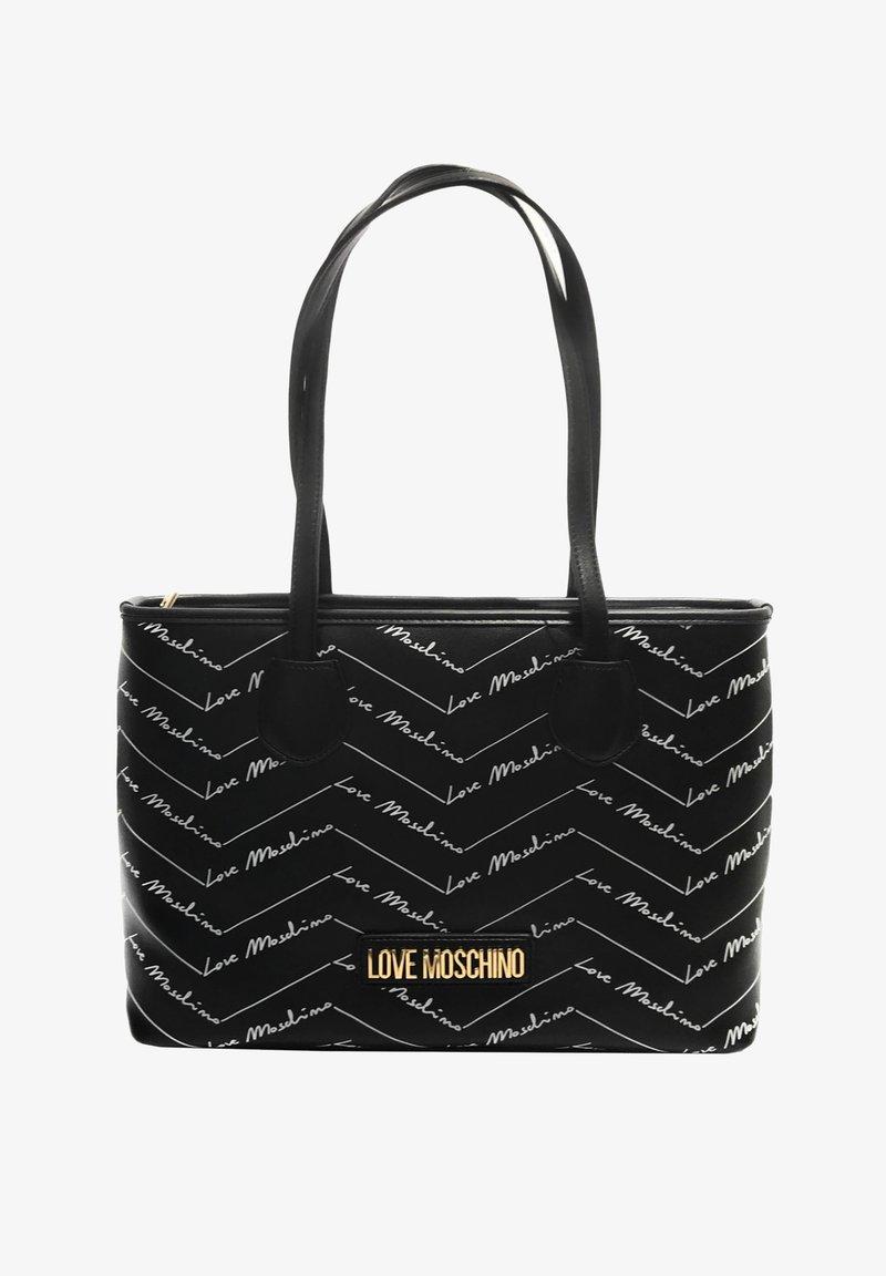 Love Moschino - SHOPPER MIT LABEL PRINT - Handbag - schwarz