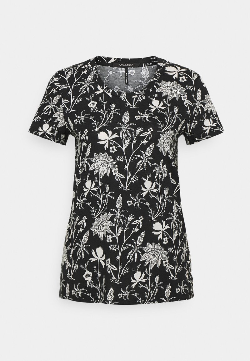 Scotch & Soda - SHORT SLEEVE TEE - Print T-shirt - black/white