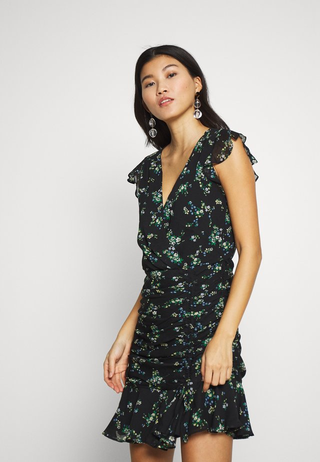RUFFLE RUCHED MINI PRINT - Sukienka letnia - black