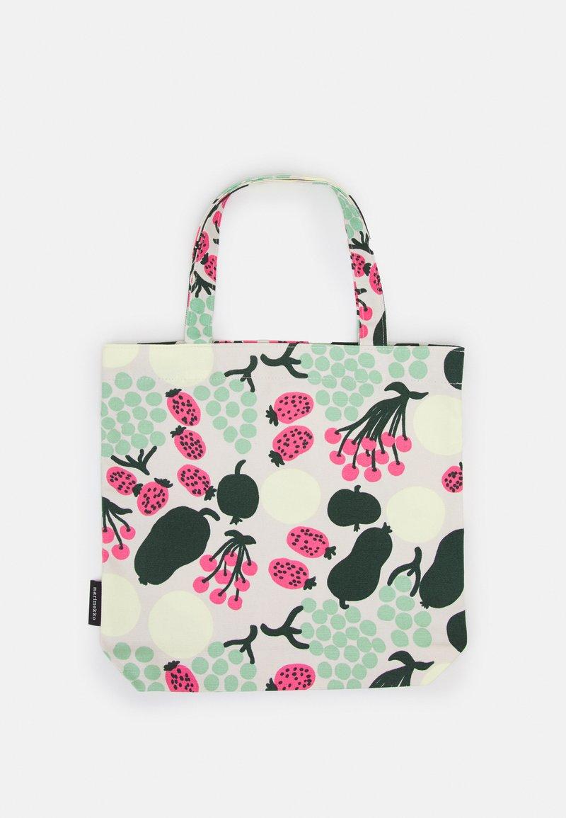 Marimekko - NOTKO PIENI TORI - Shopping bag - off white/green/pink