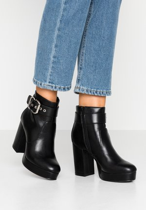 ONLBRIN BUCKLE - High heeled ankle boots - black