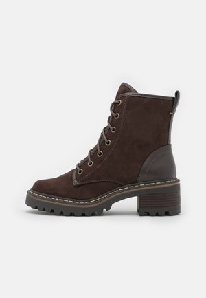 Lace-up ankle boots - chocolate