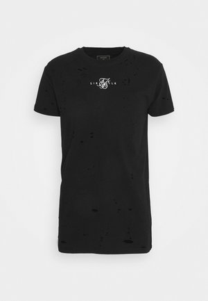 DISTRESSED BOX TEE - Triko s potiskem - black
