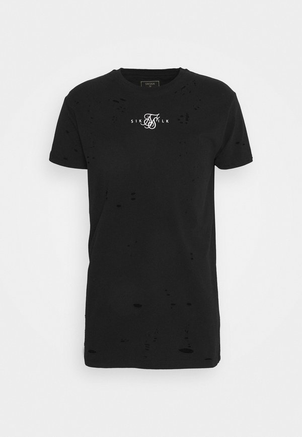 SIKSILK DISTRESSED BOX TEE - T-shirt z nadrukiem - black/czarny Odzież Męska FLKO