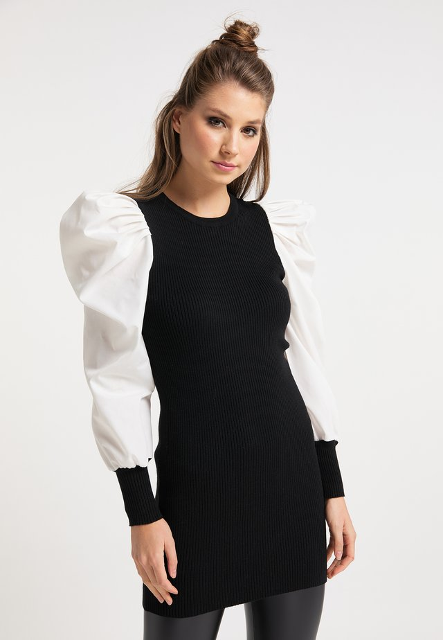 Vestido de punto - schwarz weiss