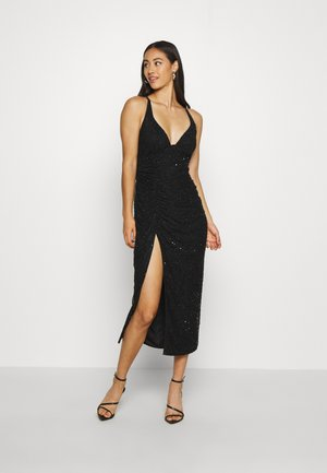 SEQUIN RUCHED STRAPPY CAMI MIDI DRESS - Cocktailkjoler / festkjoler - black
