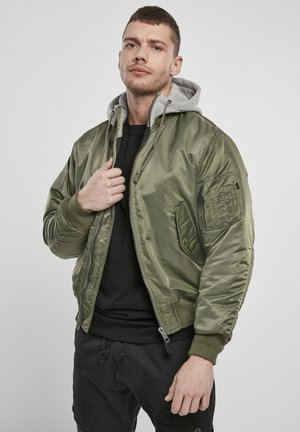HOODED  - Light jacket - olive/grey