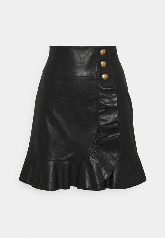 CHIACCHIERONE GONNA SIMILPELLE - Mini skirt - black
