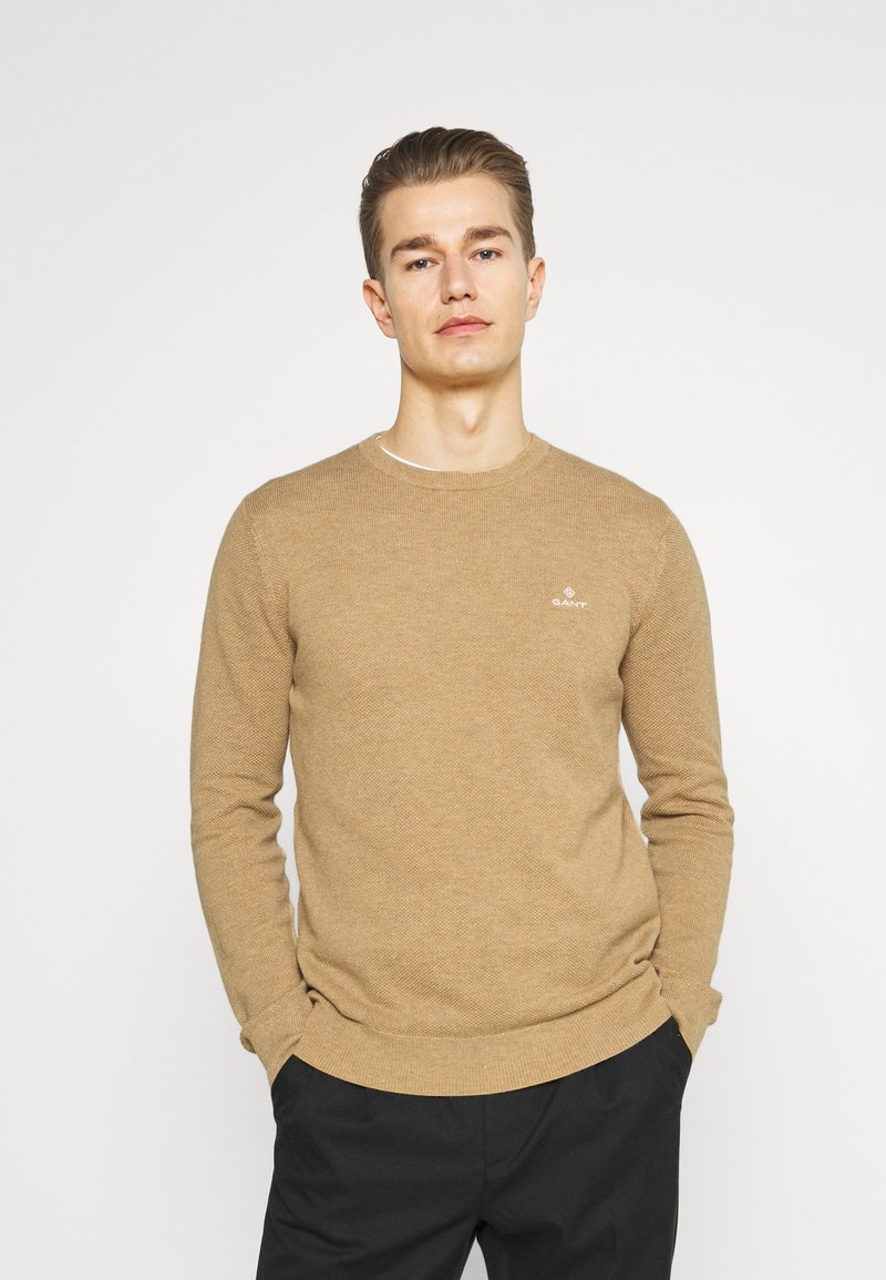 GANT - C NECK - Stickad tröja - sand melange