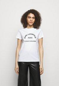 KARL LAGERFELD - ADDRESS LOGO TEE - Print T-shirt - white - 0