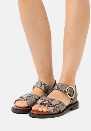 LYNA FLAT - Sandals - dark beige