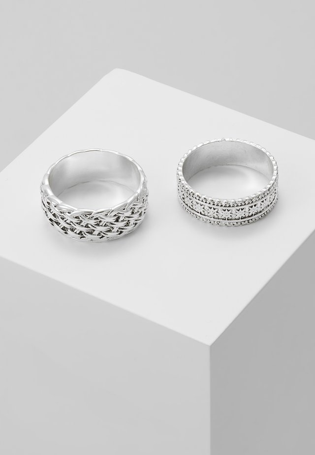 WOVEN 2PACK RING - Sormus - silver-coloured