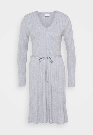 VIAURA SHORT DRESS - Pletené šaty - light grey melange