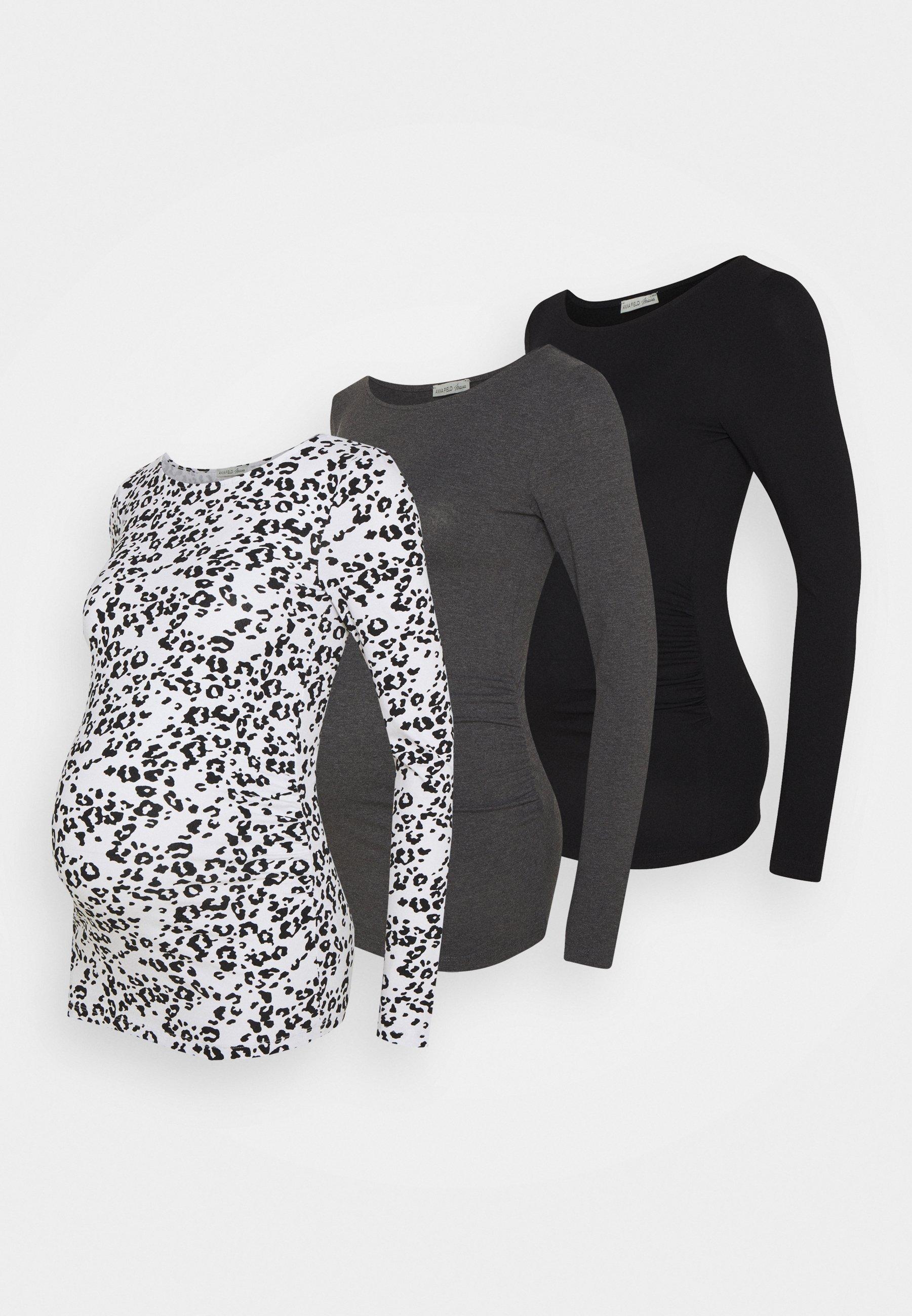 Women 3 PACK - Long sleeved top - black /dark grey /multi-coloured