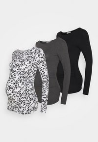 3 PACK - Top sdlouhým rukávem - black /dark grey /multi-coloured