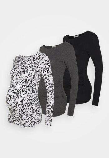 3 PACK - Topper langermet - black /dark grey /multi-coloured