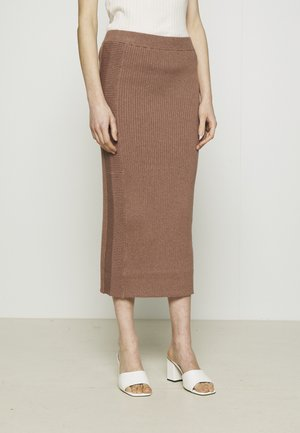 PEYTON MIDI SLIM FIT SKIRT - Pencil skirt - brownie
