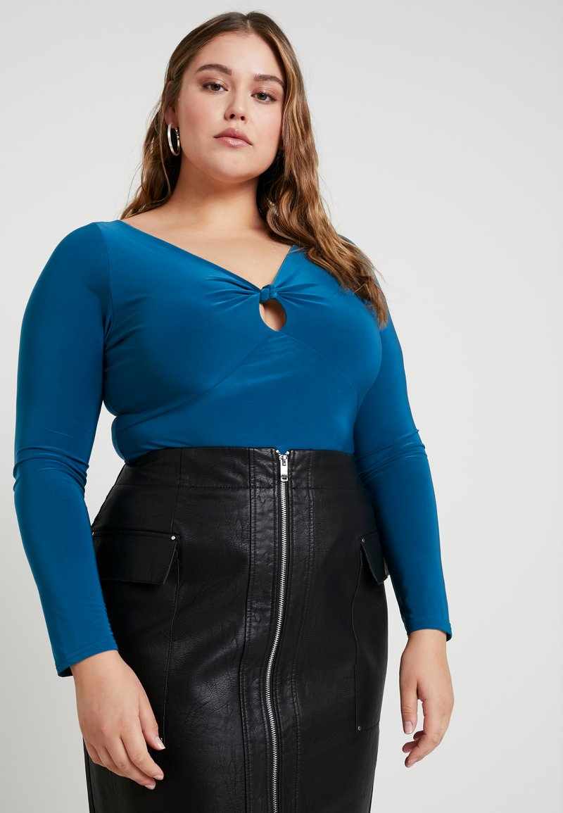 Missguided Plus - CURVE SLINKY KNOT KEYHOLE BODYSUIT - Long sleeved top - teal